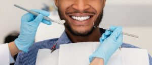 man happily visits dentist in Copperas Cove